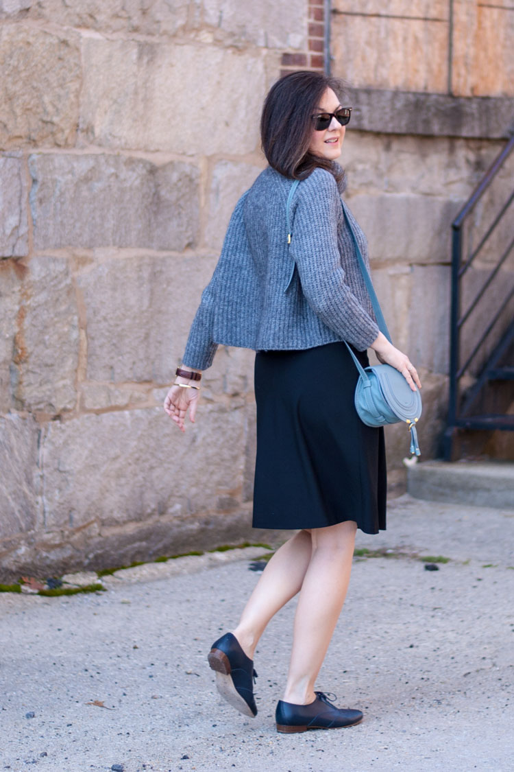 cropped sweater black skirt