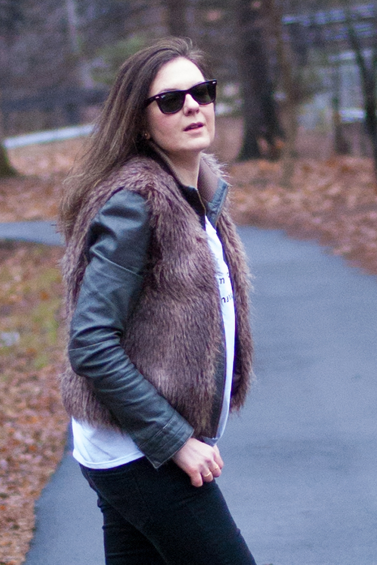 transitional weather style leather jacket and fur vest