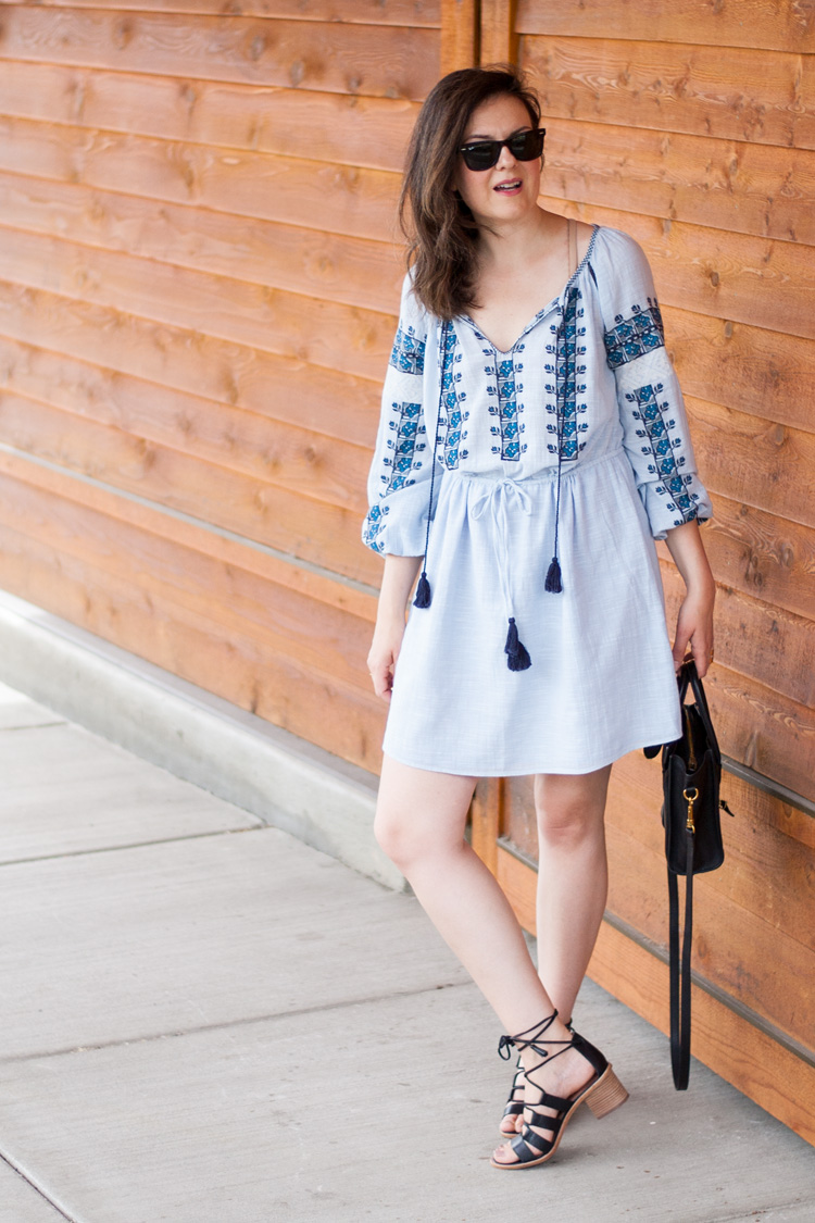 blue folk embroidered cotton dress