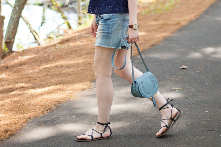 jean shorts and gladiator sandals