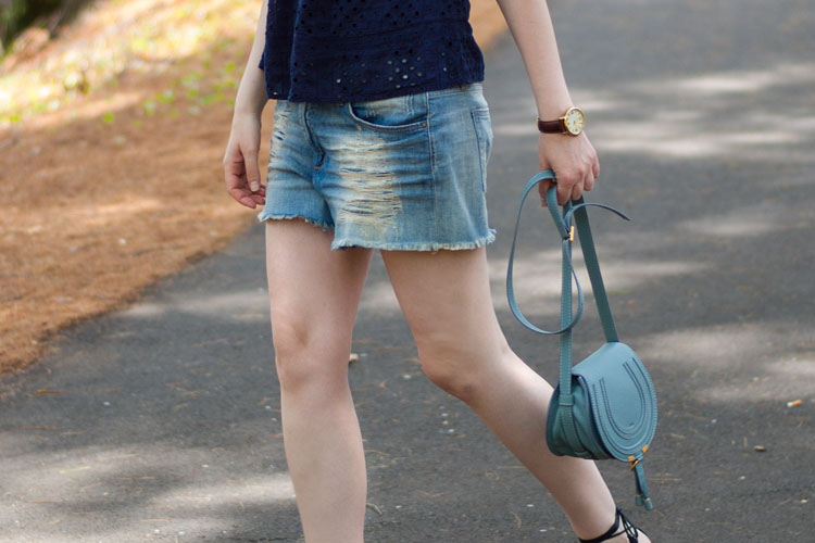 Chloe Marcie Bag and denim shorts
