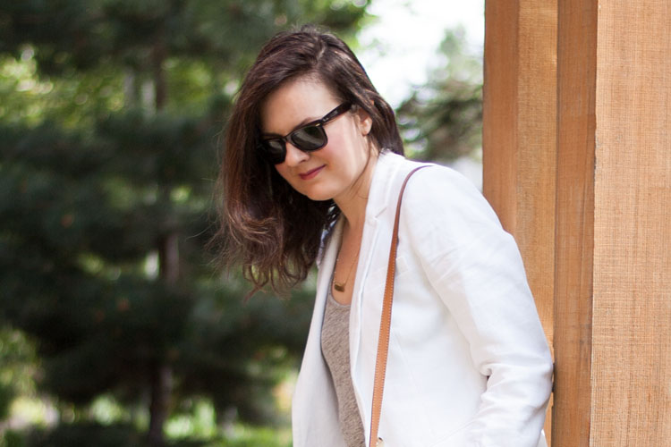 Summer style white linen jacket