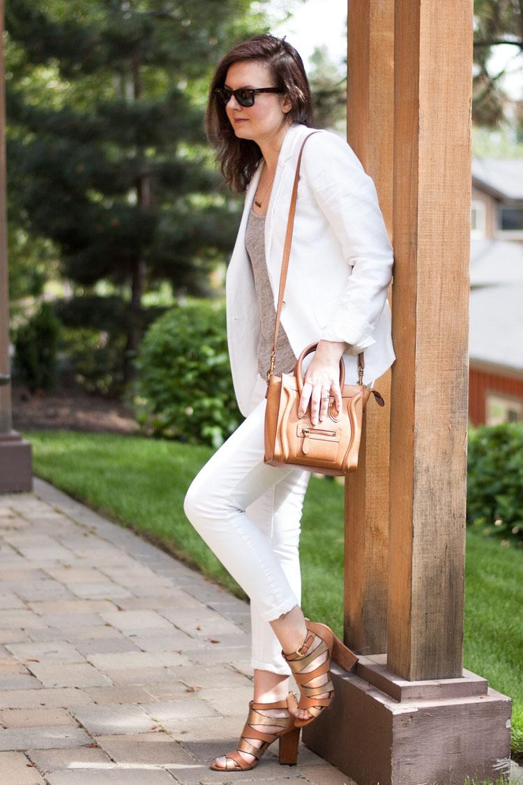 Summer style wear to work white suite white linen jacket