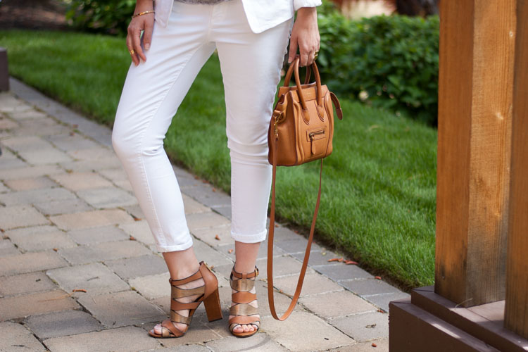 white pants and tan sandals summer