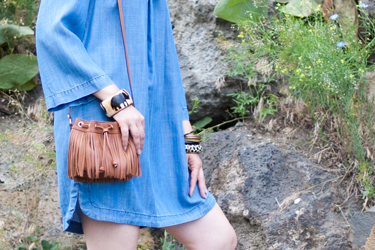tribal accessories and fringe bucket bag