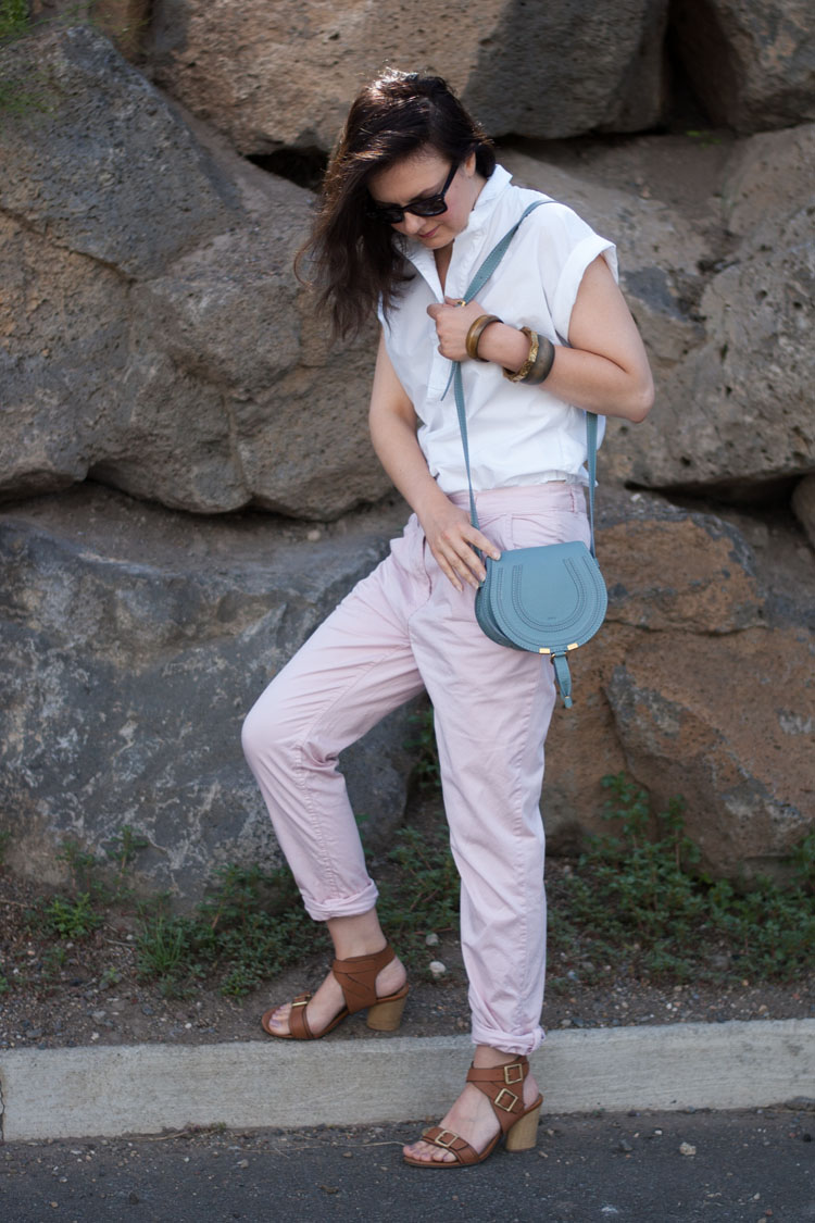 Blogger street style wearing pink pants, Chloe Marcie bag and a white shirt from JCrew