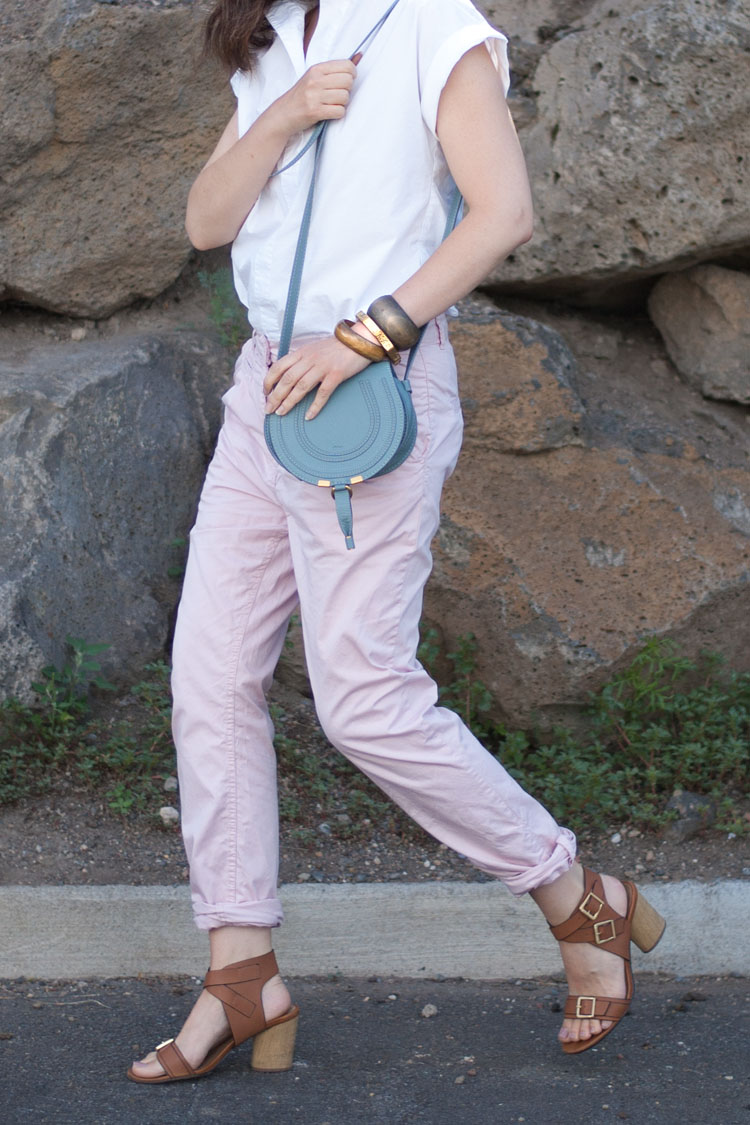 Blogger style - how to wear baggy pants and chinos. White shirt by J Crew. Chole Marcie bucket bag.