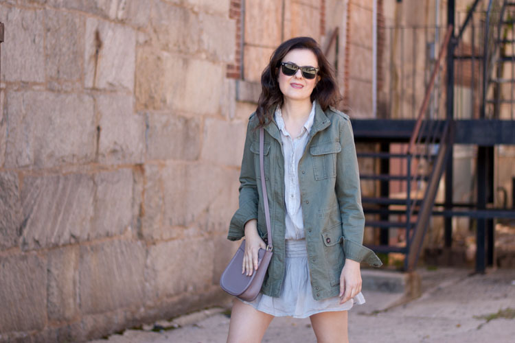 Fashion blogger street style fall style military jacket
