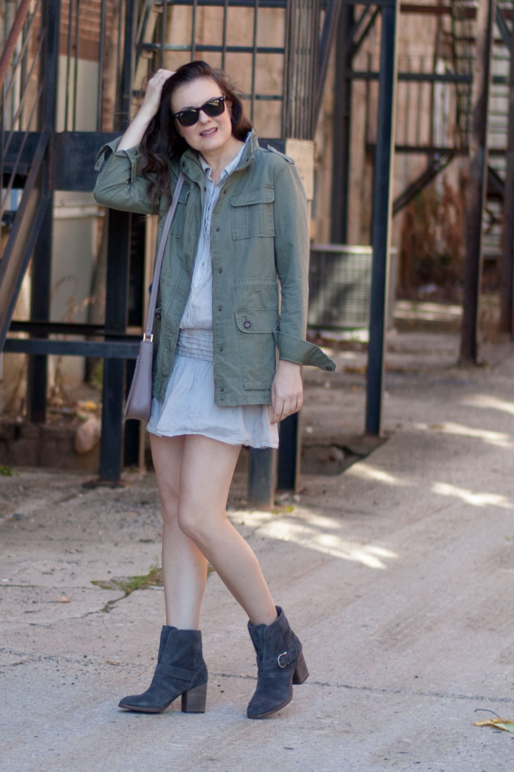 Fashion blogger fall style dress and boots