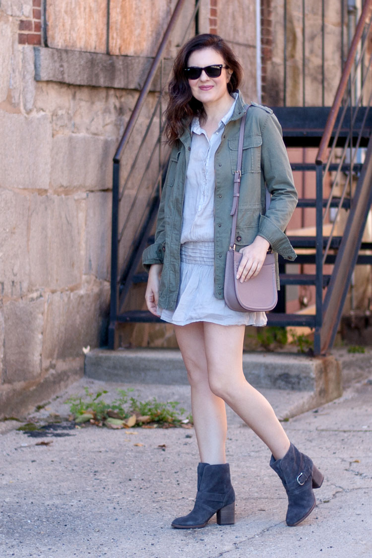 Street style blogger style military jacket and dress
