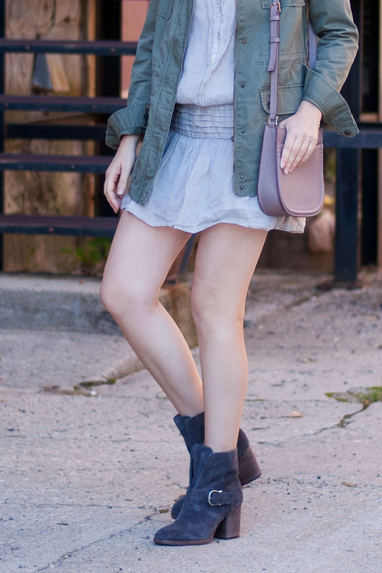 Fashion blogger street style short dress and chunky ankle boots