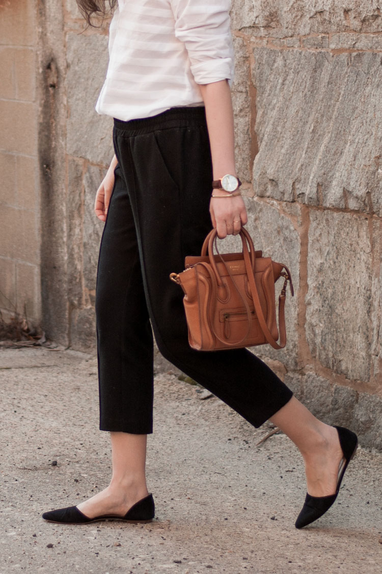 Fashion blogger street style cropped black pants wear to work