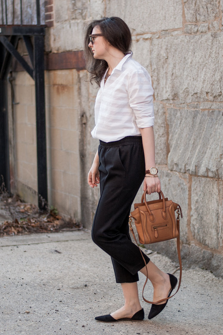 Street style blogger white shirt and black pants for work