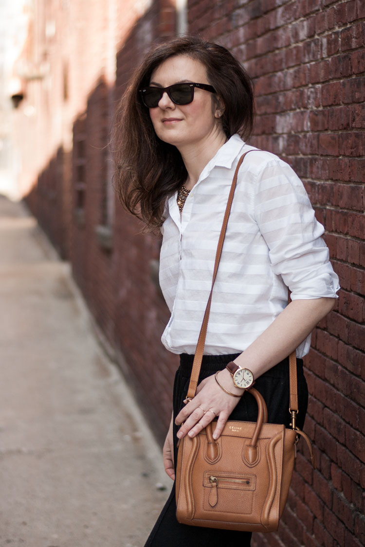 How to dress for work like a blogger in a classic white button up shirt