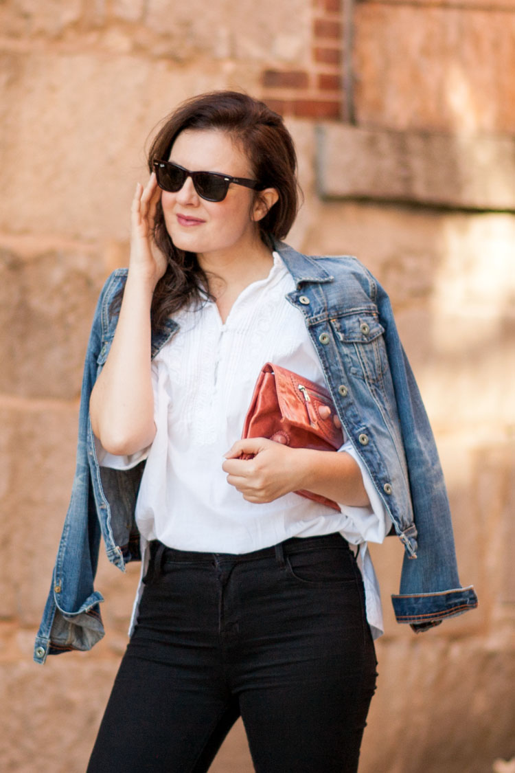 Street style blogger denim jacket and white popover shirt