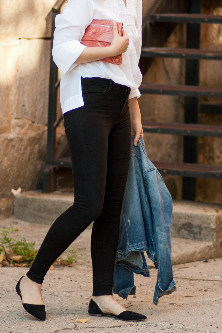Street style blogger J Brand Maria High Rise skinny jeans in black outfit