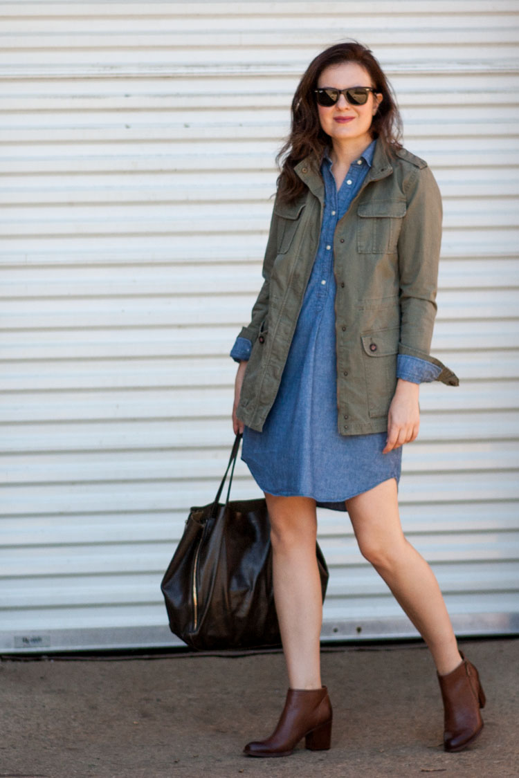 style blogger booties denim dress and military jacket
