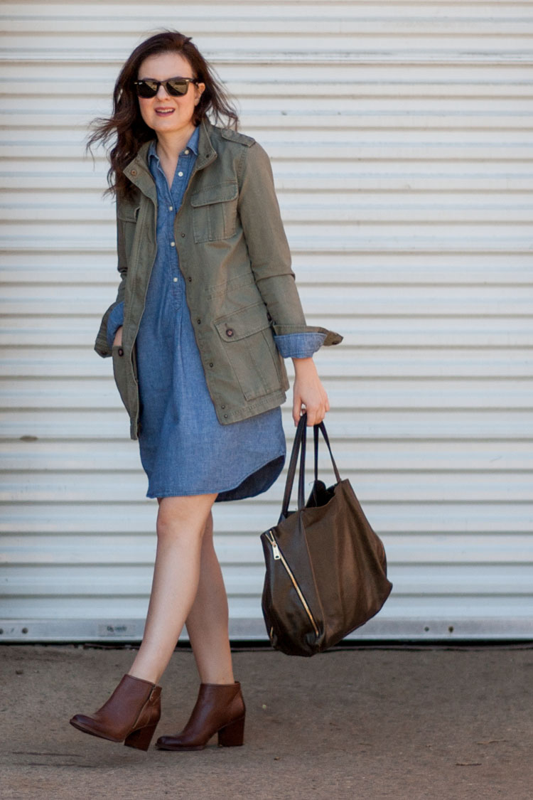 street style blogger shirt dress and military jacket