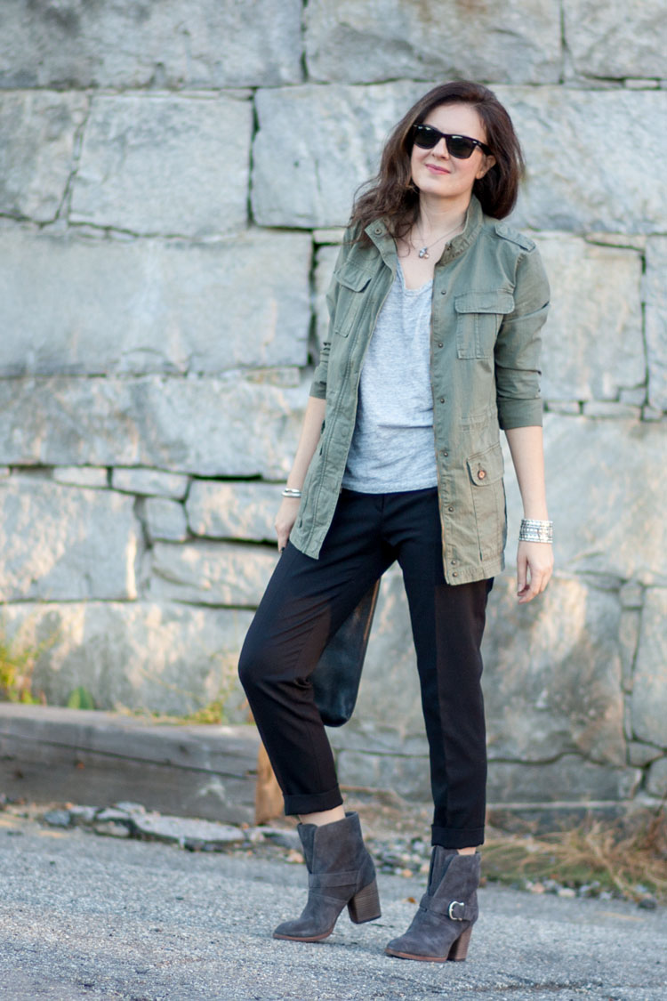 fall neutrals outfit with military jacket and black pants