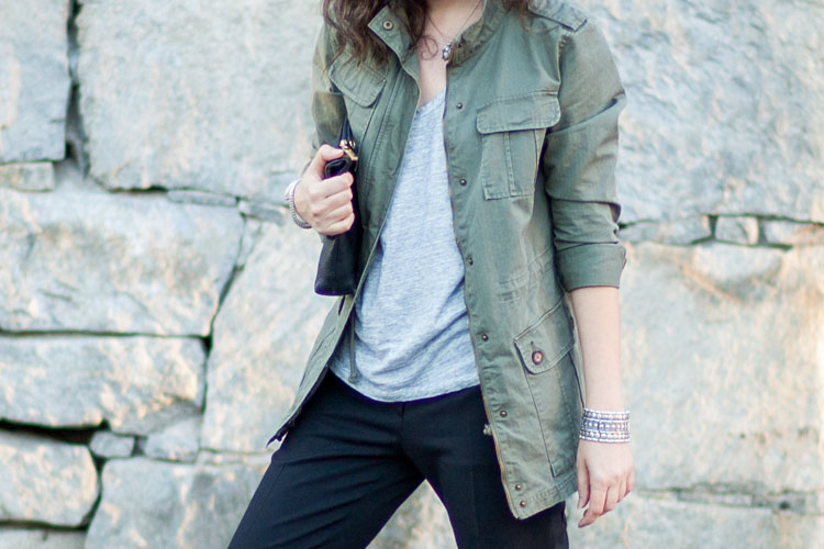 dressing in neutrals outfit military jacket