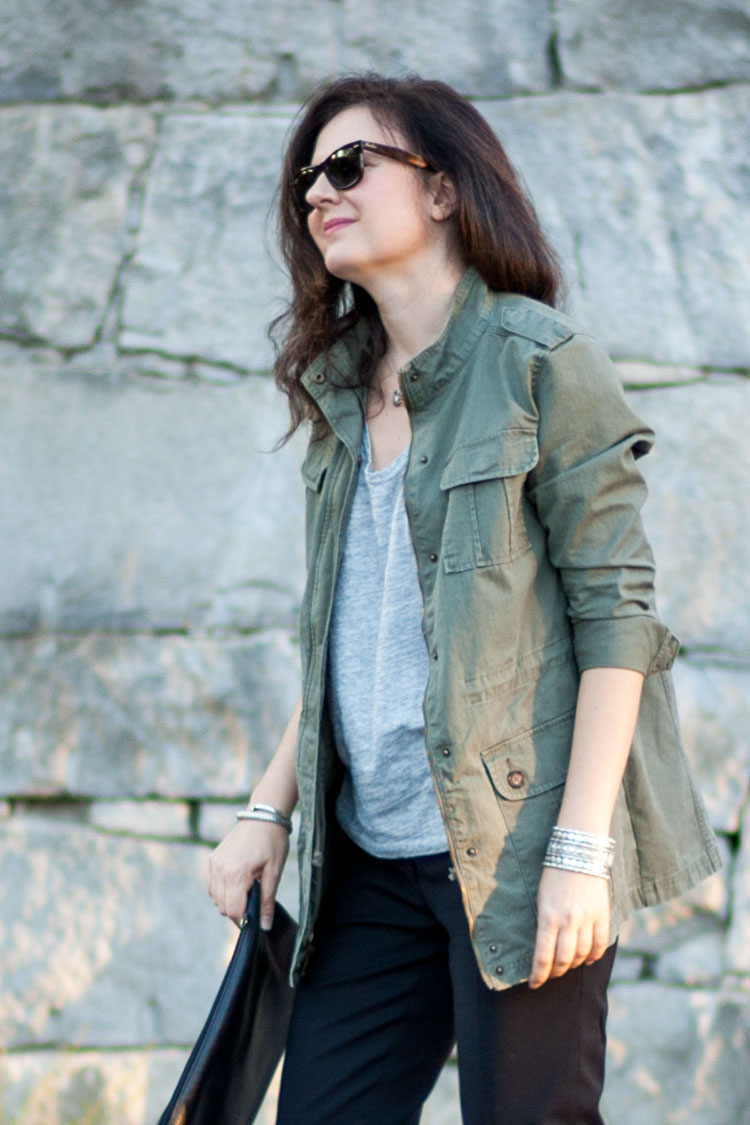 Blogger style outfit with a military jacket