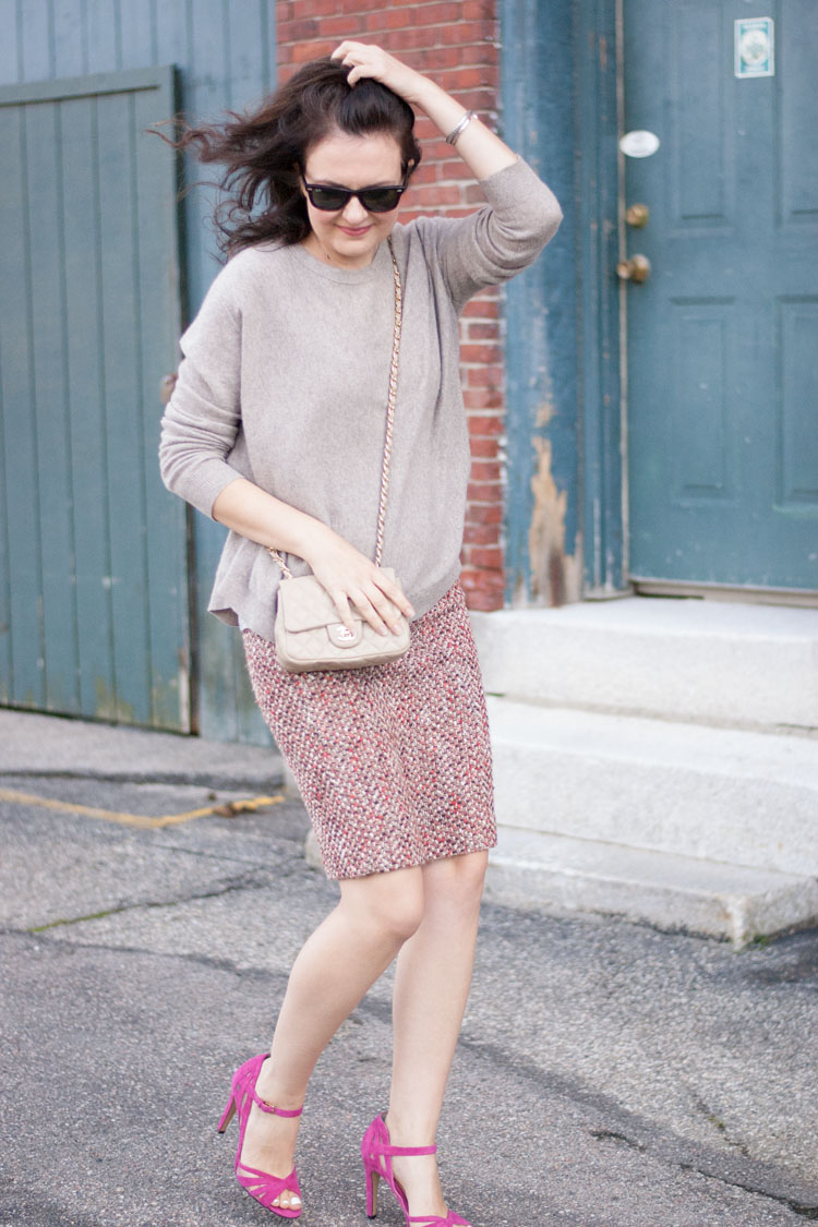 fall outfit with pink and blush