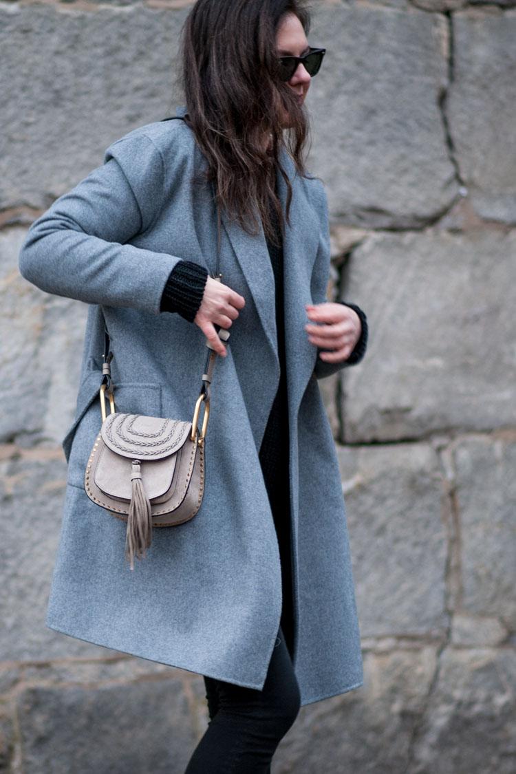 grey wool coat street style