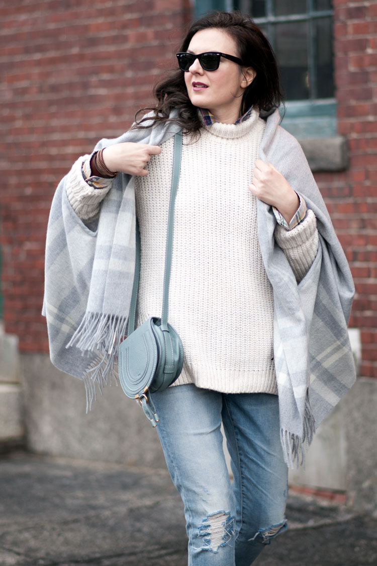 jcrew wool poncho in grey