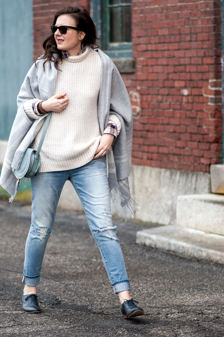 blogger style layering with a grey wool poncho