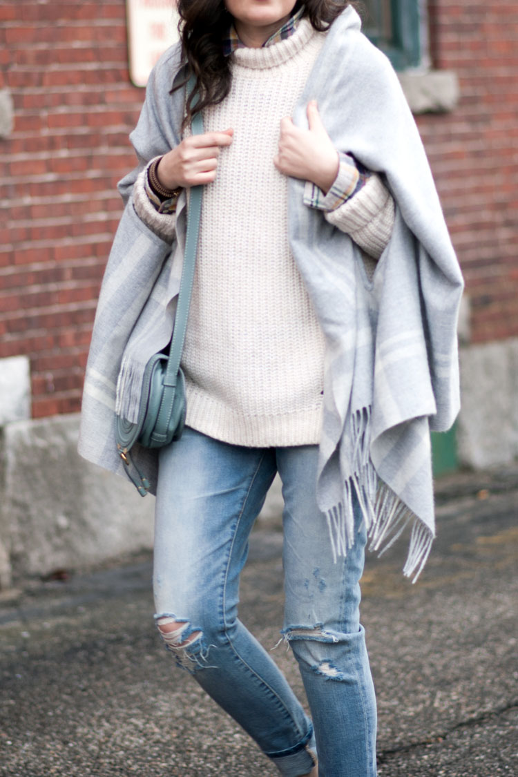 ripped boyfriend jeans and chunky winter white sweater blogger style