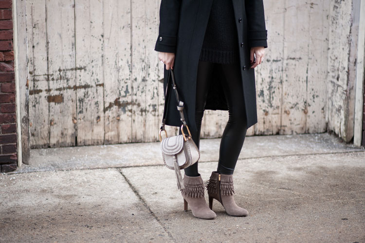 blogger winter outfit style with suede high heeled booties