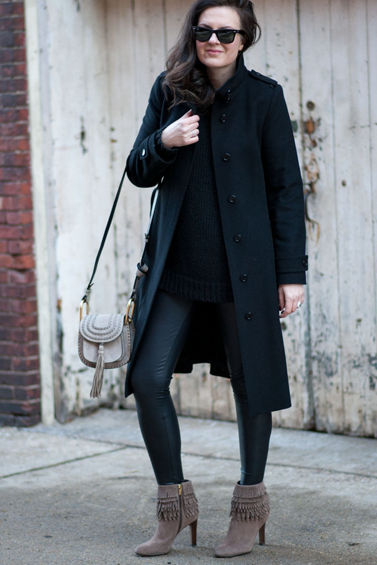 Blogger street style winter outfit with burberry coat and chloe bag
