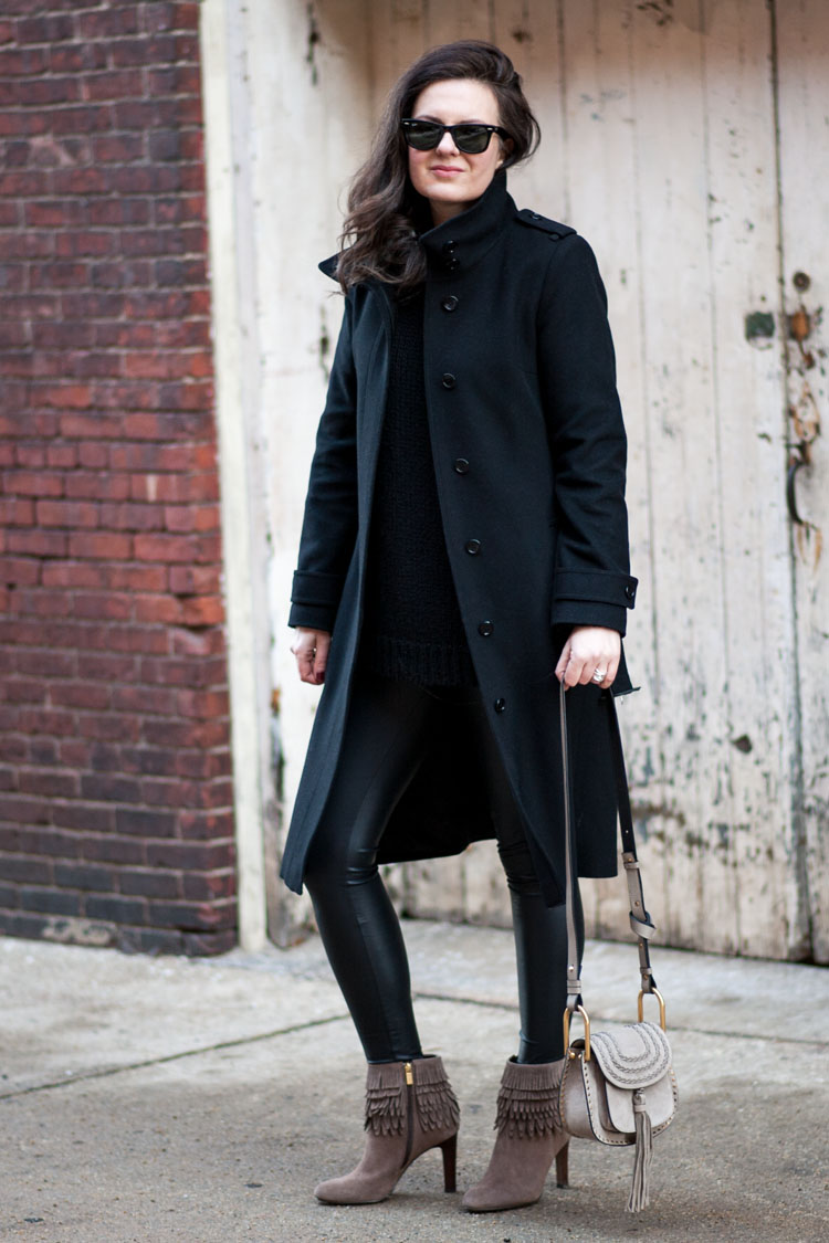 wearing black all black layers for winter style outfit idea