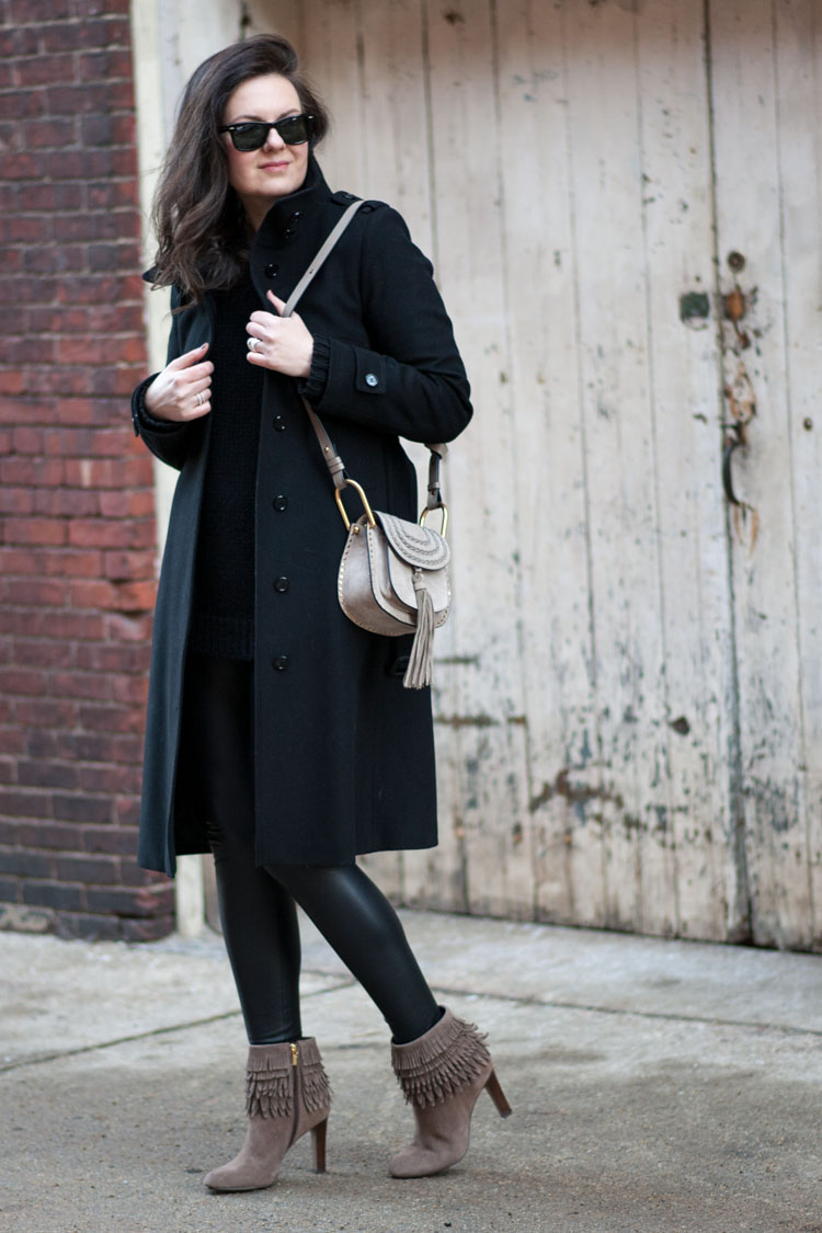long black burberry coat chole marcie bag winter outfit idea blogger style