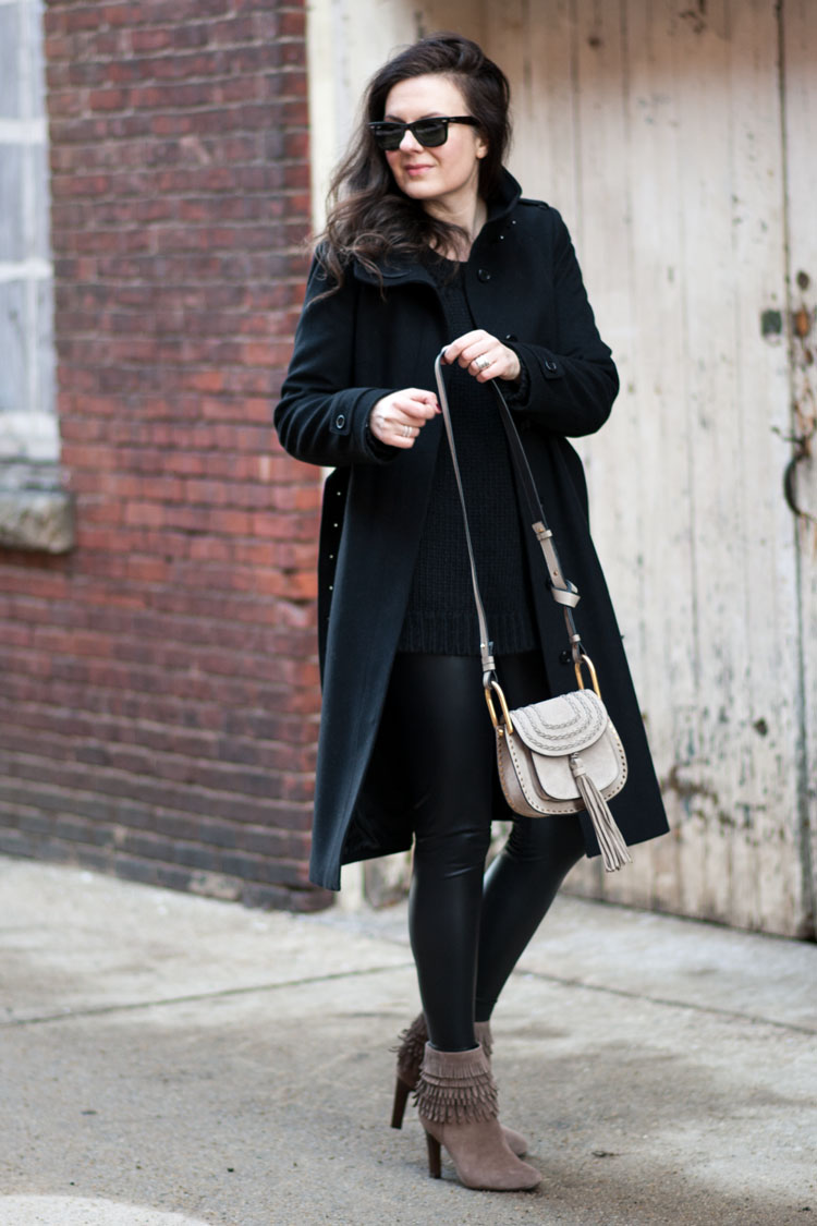 blogger street style idea chole bag and black coat