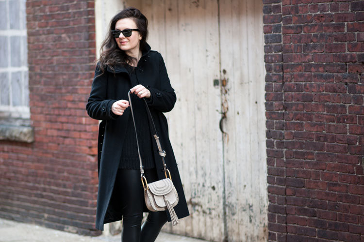 winter outfits street style blogger long black coat