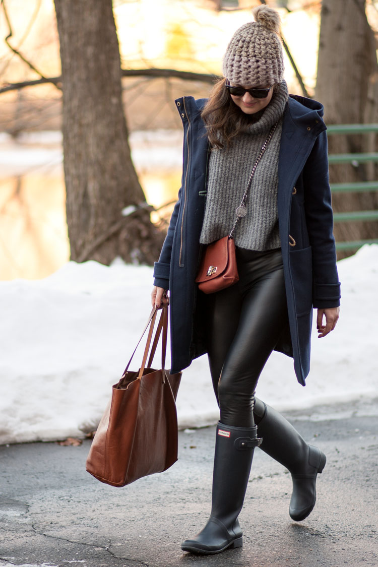 winter style with hunter boots