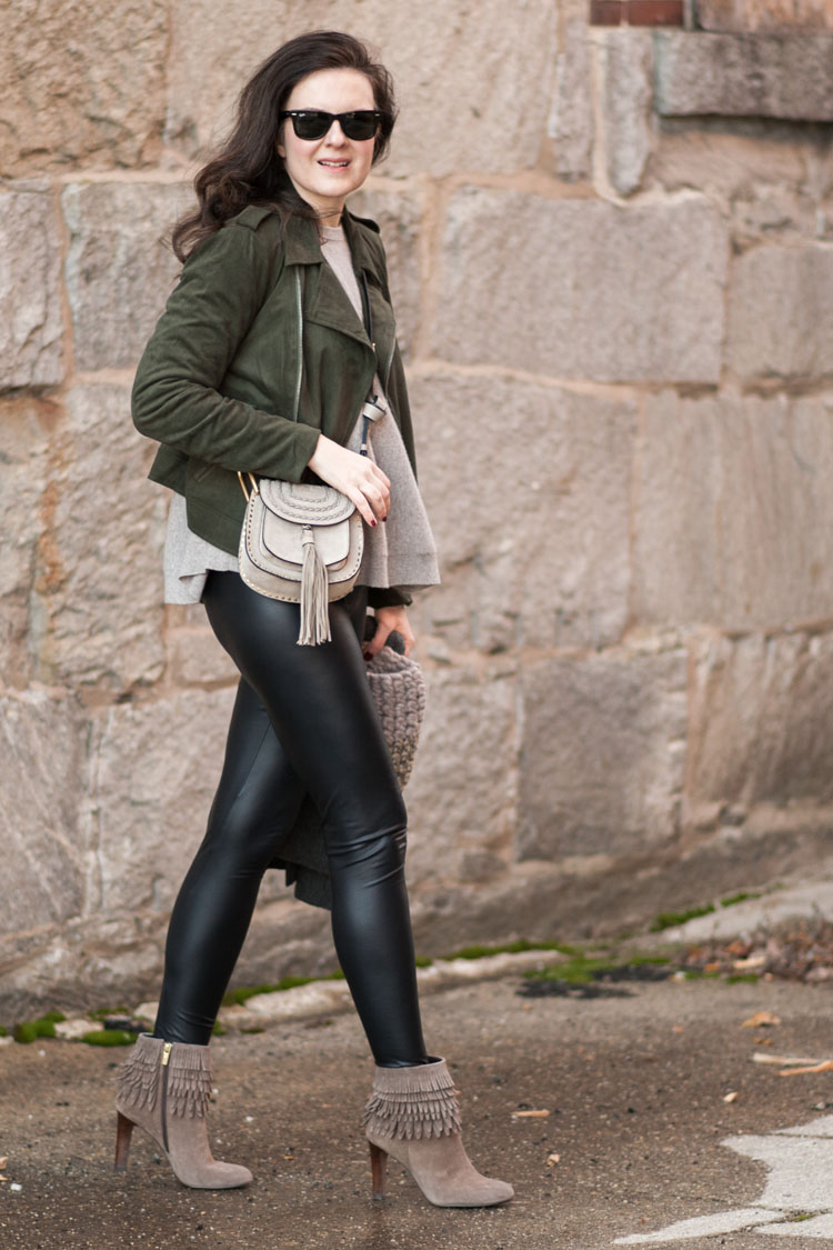 leather leggings and moto jacket for winter