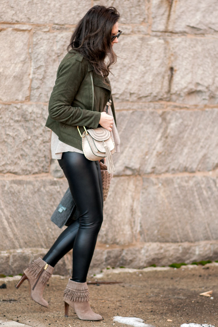 blogger style green suede moto jacket and leather leggings
