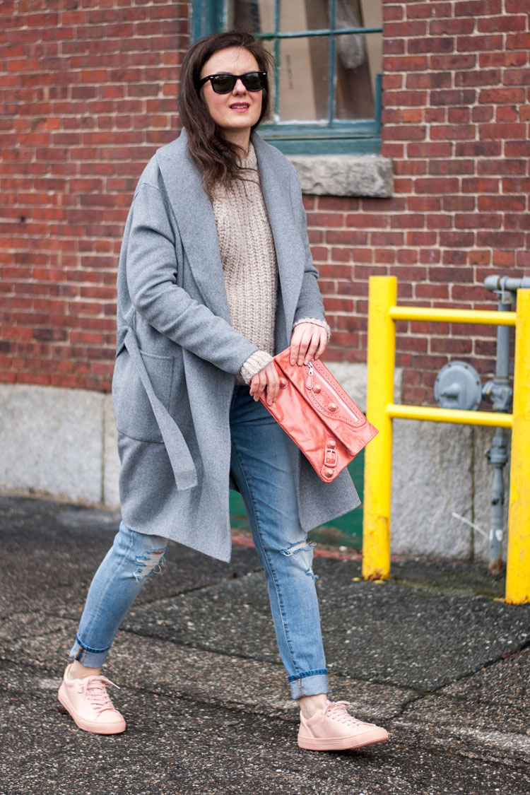 Pink sneakers and a grey coat street style