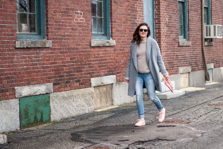 Pink sneakers blogger style winter outfit idea