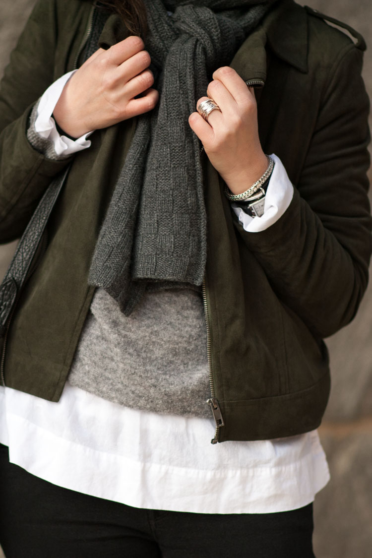 Green sude moto jacket street style blogger outfit
