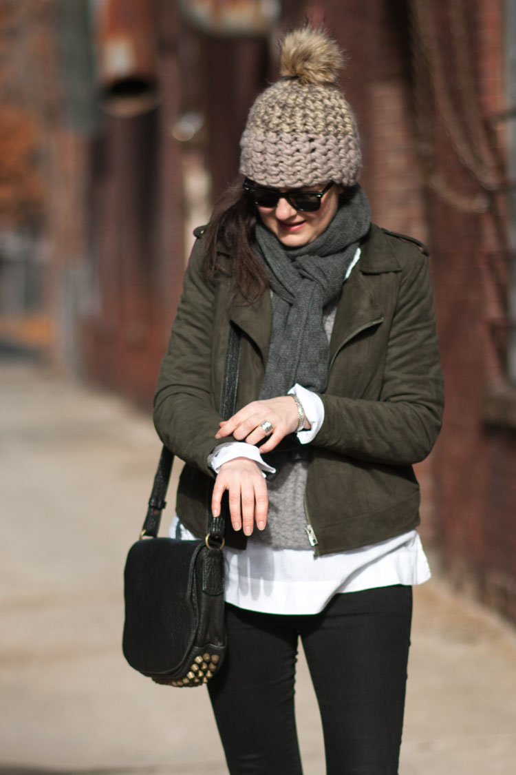 Chunky pom pom hat street style blogger look, perfect for transitional fall or spring weather