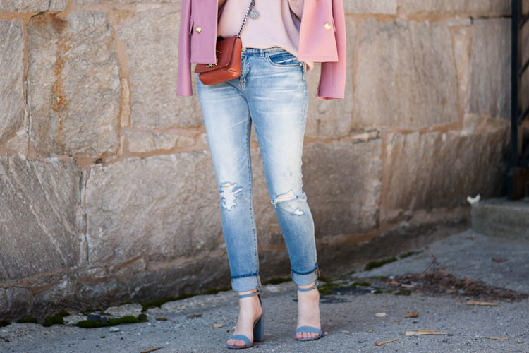 ripped jeans with pink coat and pink sweater