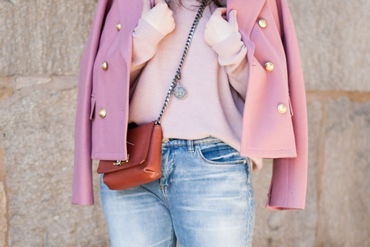 pink jacket and pink sweater
