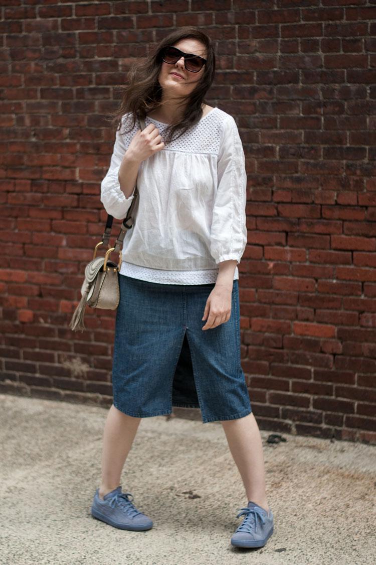 midi denim skirt with a slit