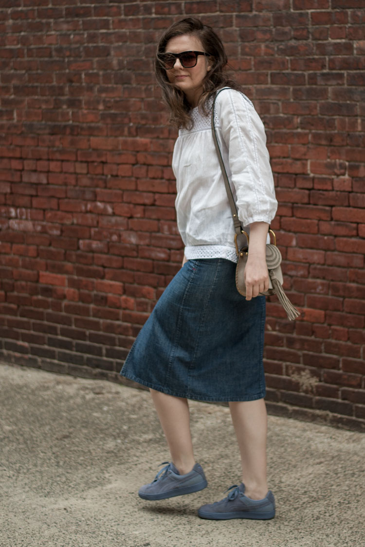 midi jeans skirt and a white shirt